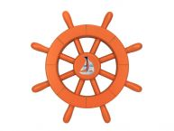 Orange Decorative Ship Wheel With Sailboat 12