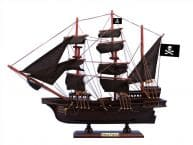 "Wooden Captain Kidds Black Falcon Black Sails Pirate Ship Model 15"" picture"