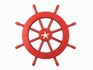 "Red Ship Decorative Wheel with Starfish 18"" picture"