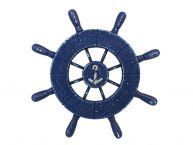 Rustic All Dark Blue Decorative Ship Wheel With Anchor 9