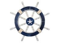 Rustic Dark Blue Decorative Ship Wheel with Starfish 18