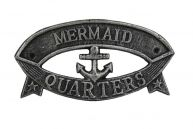 Antique Silver Cast Iron Mermaid Quarters Sign 8
