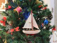 "Wooden Ranger Model Sailboat Christmas Ornament 9"" picture"