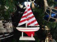 Wooden Red Striped Sailboat Model Christmas Tree Ornament