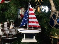 Wooden USA Flag Sailboat Model Christmas Tree Ornament