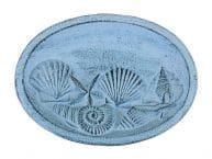 Rustic Dark Blue Whitewashed Cast Iron Decorative Seashell Bowl 8