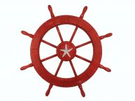 Wooden Rustic Red Decorative Ship Wheel With Starfish 30 picture