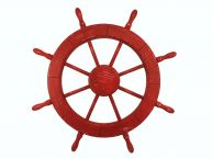 "Wooden Rustic Red Decorative Ship Wheel 30"" picture"