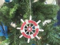 Rustic Red and White Decorative Ship Wheel With Starfish Christmas Tree Ornament 6 picture