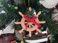 Ships Wheel Wreath and Bow Christmas Tree Ornament