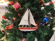 Wooden USA Sailboat Model Christmas Tree Ornament 9