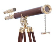 """Floor Standing Solid Brass - Wood Griffith Astro Telescope 64"""" picture"""