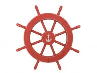 Rustic Red Decorative Ship Wheel With Anchor 18