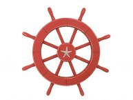 Rustic Red Decorative Ship Wheel With Starfish 18