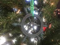 Seaworn Blue Cast Iron Ship Wheel Decorative Christmas Ornament 4