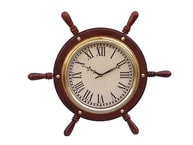Solid Wood & Brass Ship Wheel Clock 15 picture