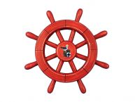Rustic All Red Decorative Ship Wheel With Seagull 12
