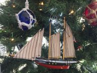 Wooden America Model Sailboat Decoration Christmas Ornament 7 picture