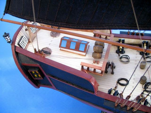 pirate ship model is fully assembled