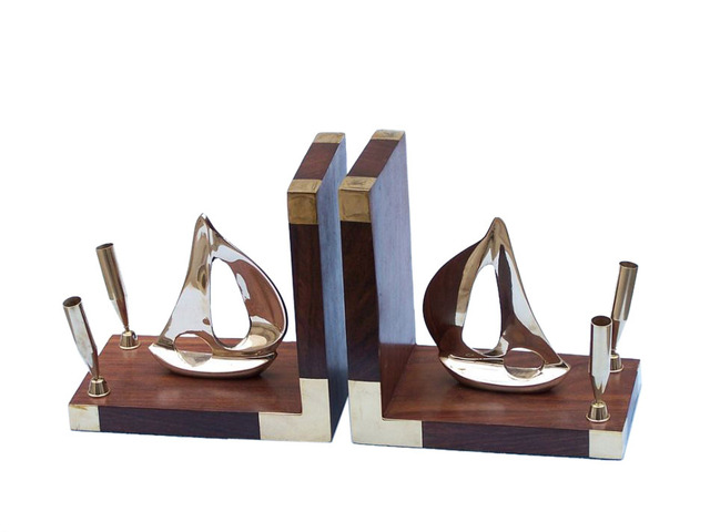 Brass Ship Book Ends