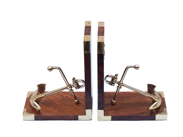 Solid Brass and Wood Anchor Book Ends