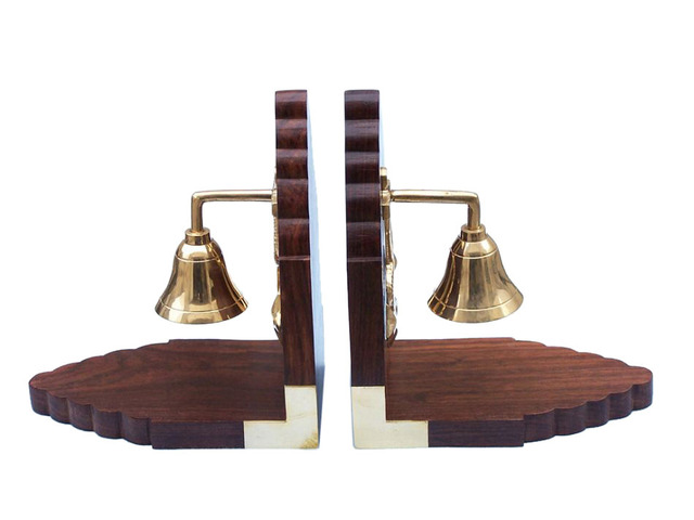 Solid Brass Plated Bell and Rosewood Book Ends