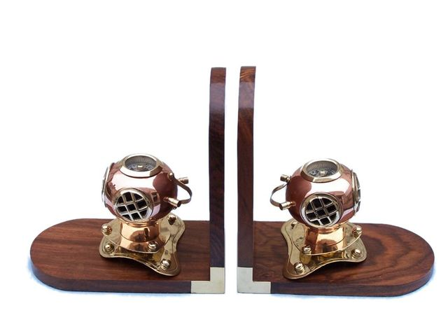 Solid Copper and Brass Decorative Diving Helmet Book Ends 7