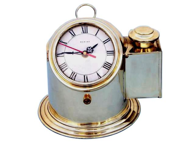 Solid Brass Binnacle Compass with Clock and Oil Lamp 9