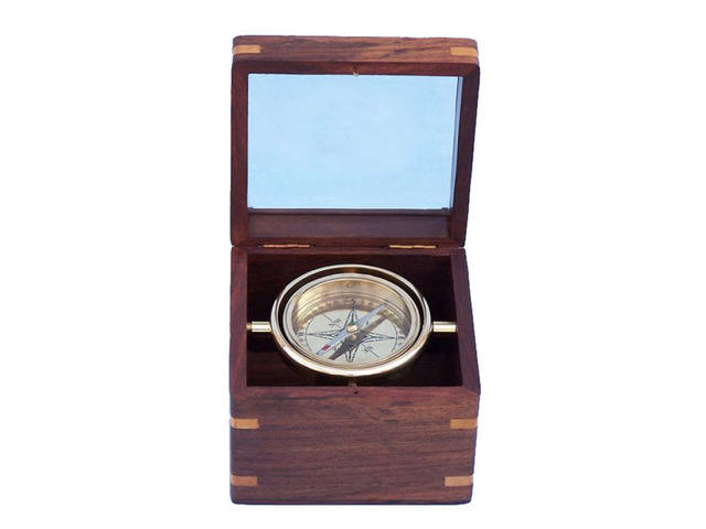 Solid Brass Lifeboat Compass w- Rosewood Box 5