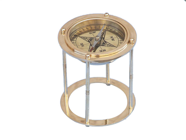 Solid Brass Northstar Compass on Stand 4