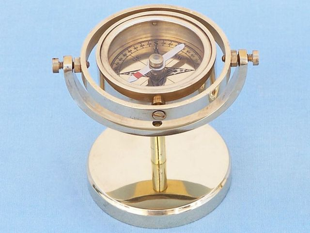 Brass Gimbal Compass on Stand 4