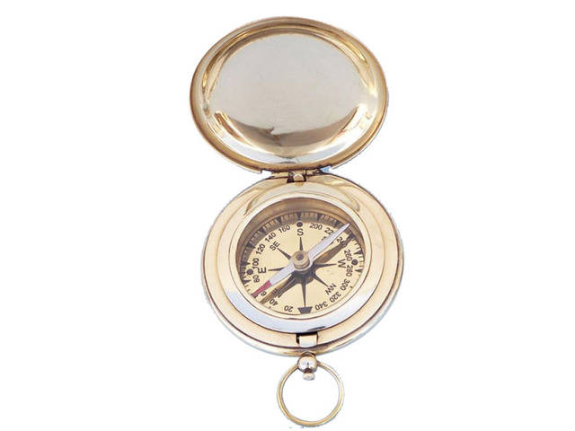 Solid Brass Captains Push Button Compass 3