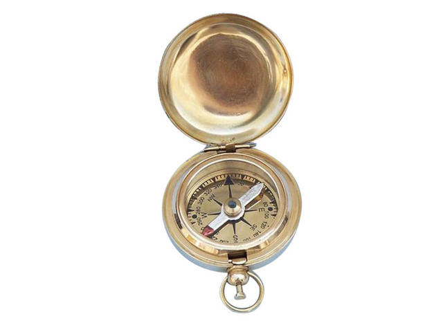Solid Brass Scouts Push Button Compass 2