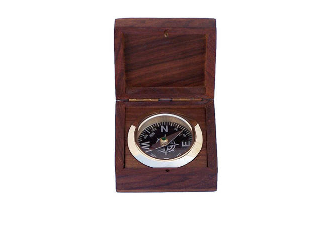 Solid Brass Black Desk Compass w- Rosewood Box 3