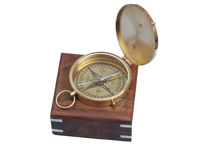 Solid Brass Admirals Sundial Compass w- Rosewood Box 4