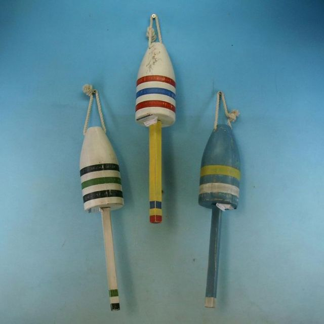 Wooden Rustic Striped Buoys 16 - Set of 3
