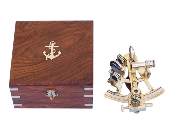 Scouts Brass Sextant 4 with Rosewood Box