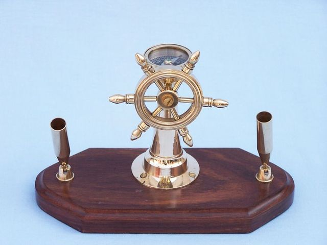 Ship Wheel Compass Pen Holder