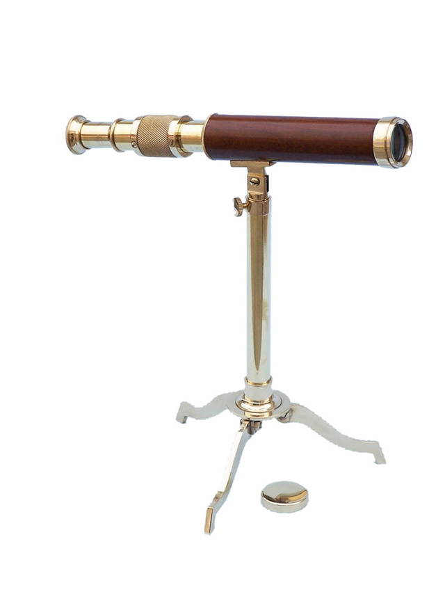 Solid Brass Telescope on Stand 17 - Wood
