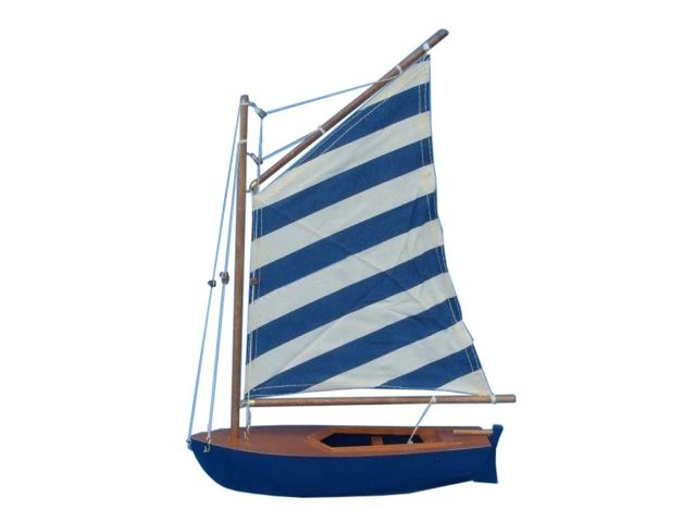 Wooden Blue Striped Sailboat Model Sailboat Decoration 15