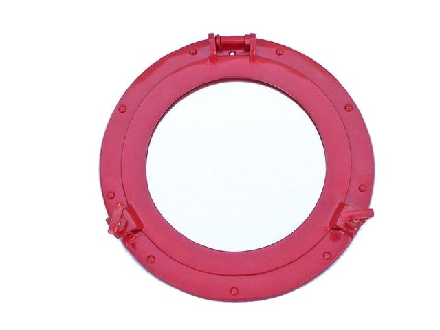 Brass Decorative Ship Porthole Mirror 12 - Dark Red