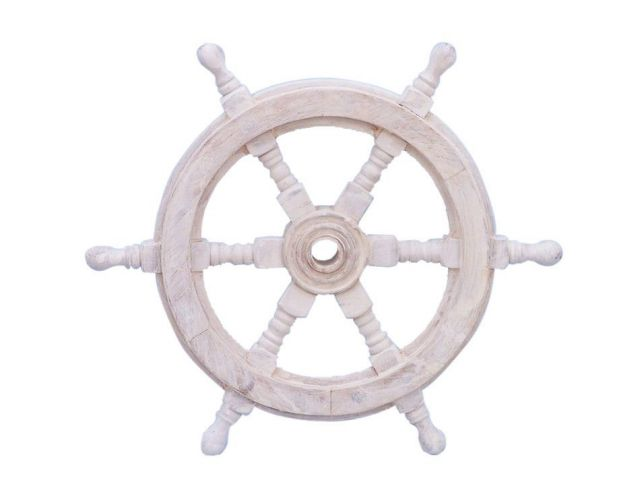 Classic Wooden Whitewashed Decorative Ship Steering Wheel 12