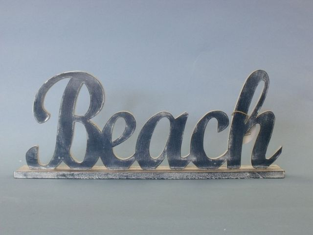 Wooden Blue Beach Table Word Sign 17