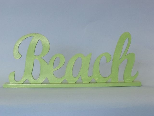 Wooden Green Beach Table Word Sign 17