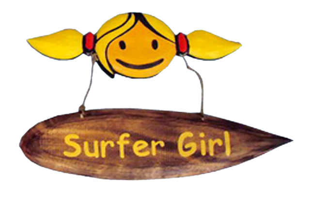 Wooden Surfer Girl Wall Plaque 14