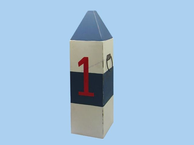 Wooden Blue and White Buoy 34