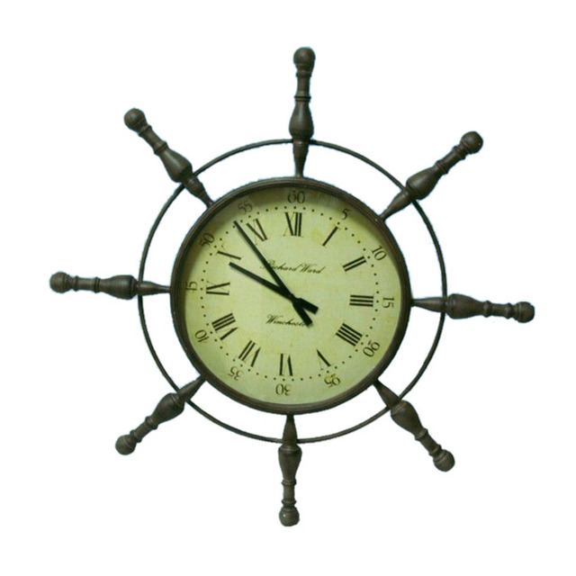 Metal Ship Wheel Clock 39