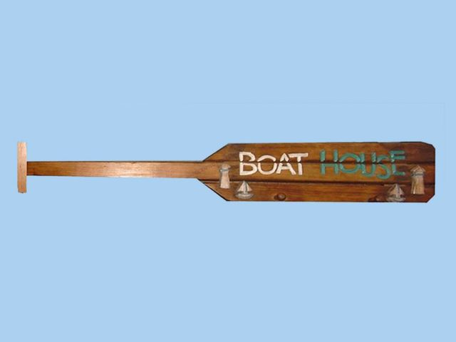 Wooden Brown Boat Oar Boat House Sign w- Pegs 39