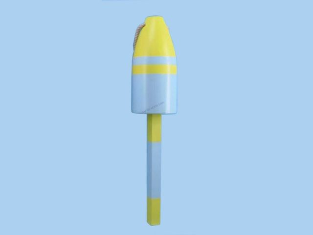 Wooden Blue and Yellow Nautical Buoy 16