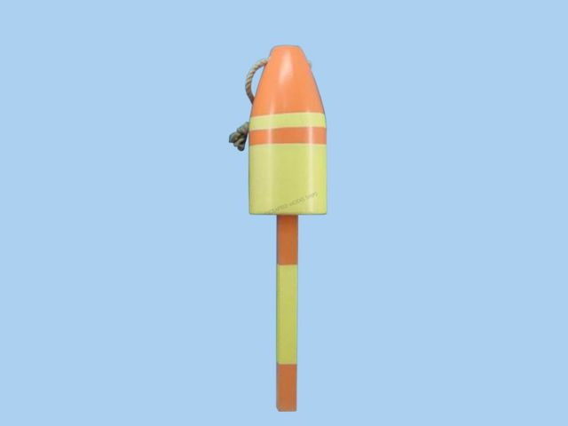 Wooden Yellow and Orange Nautical Lobster Buoy 16